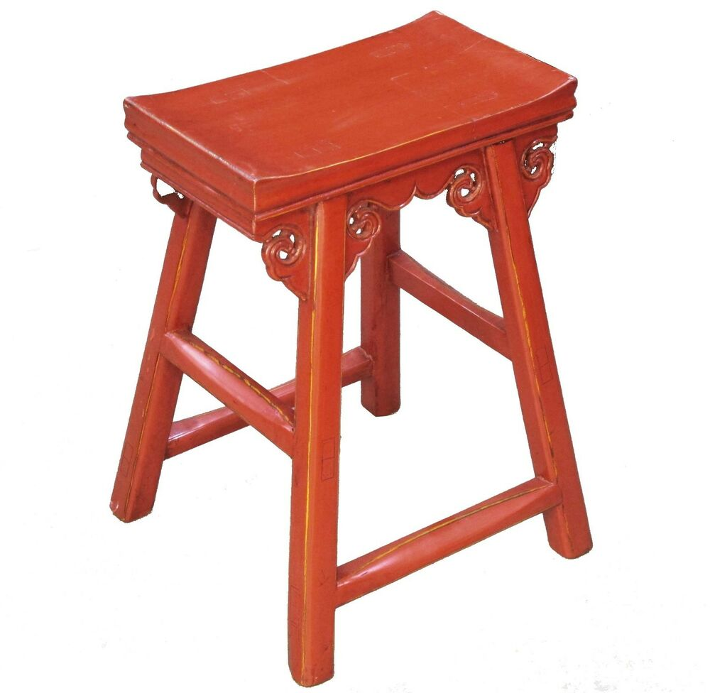A Chinese Red Color Elm Wood High Leg Stool 21 Inches H Ebay