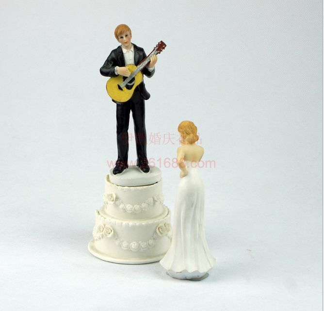 Hot Custom Personalized Guitar Bride And Groom Silhouette Wedding Cake Topper