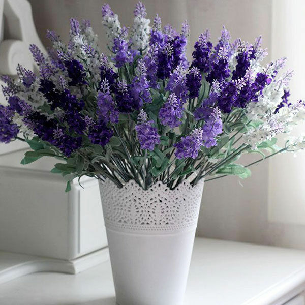 10 heads lavender flowers silk artificial bouquet wedding for Artificial flowers for home decoration online