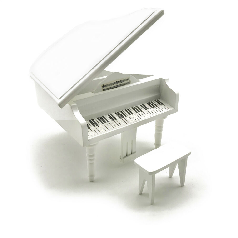 Dollhouse Miniature White Grand Piano Art Music With Stool