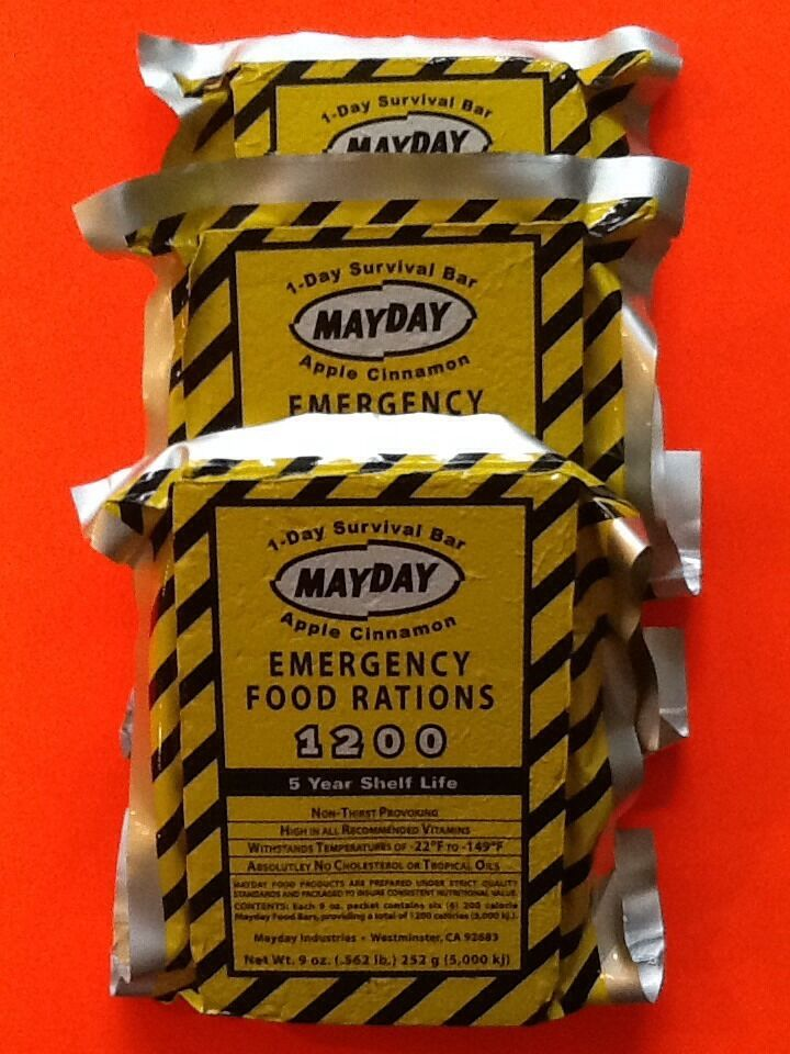 Lot of 3 mayday 1200 calorie emergency survival food bars for Food bar emergency
