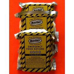 Lot of 3 Mayday 1200 Calorie Emergency Survival Food Bars Doomsday Prepper BOB