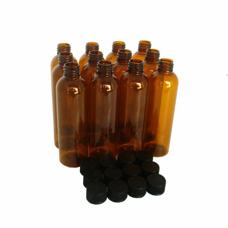 Plastic Amber Pet Bottles 4 Oz Bullet With Black Caps