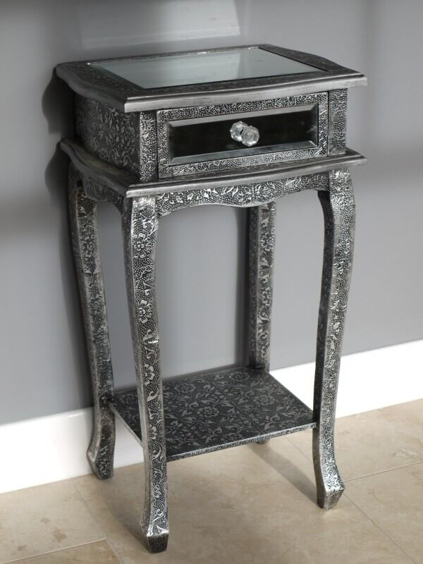 Mirrored Bedside Table With Drawers: 1 X Blackened Silver Metal Embossed 1 Drawer Mirrored