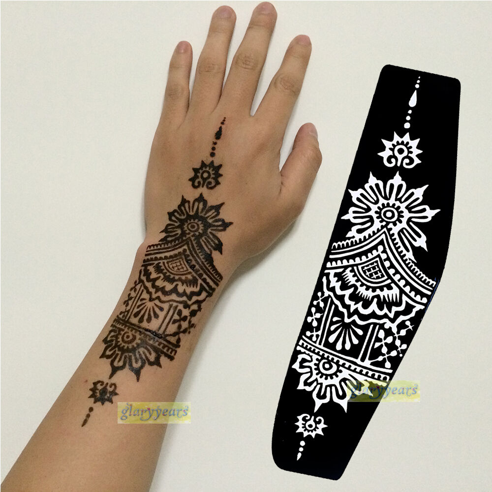 1pc lots style professional mehndi india henna stencils tattoo hand arm template ebay. Black Bedroom Furniture Sets. Home Design Ideas