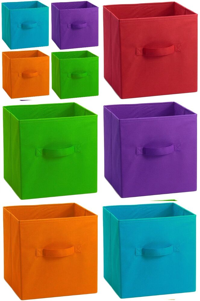 extra large 11in fabric collapsible container cube storage closet organizer bin ebay. Black Bedroom Furniture Sets. Home Design Ideas