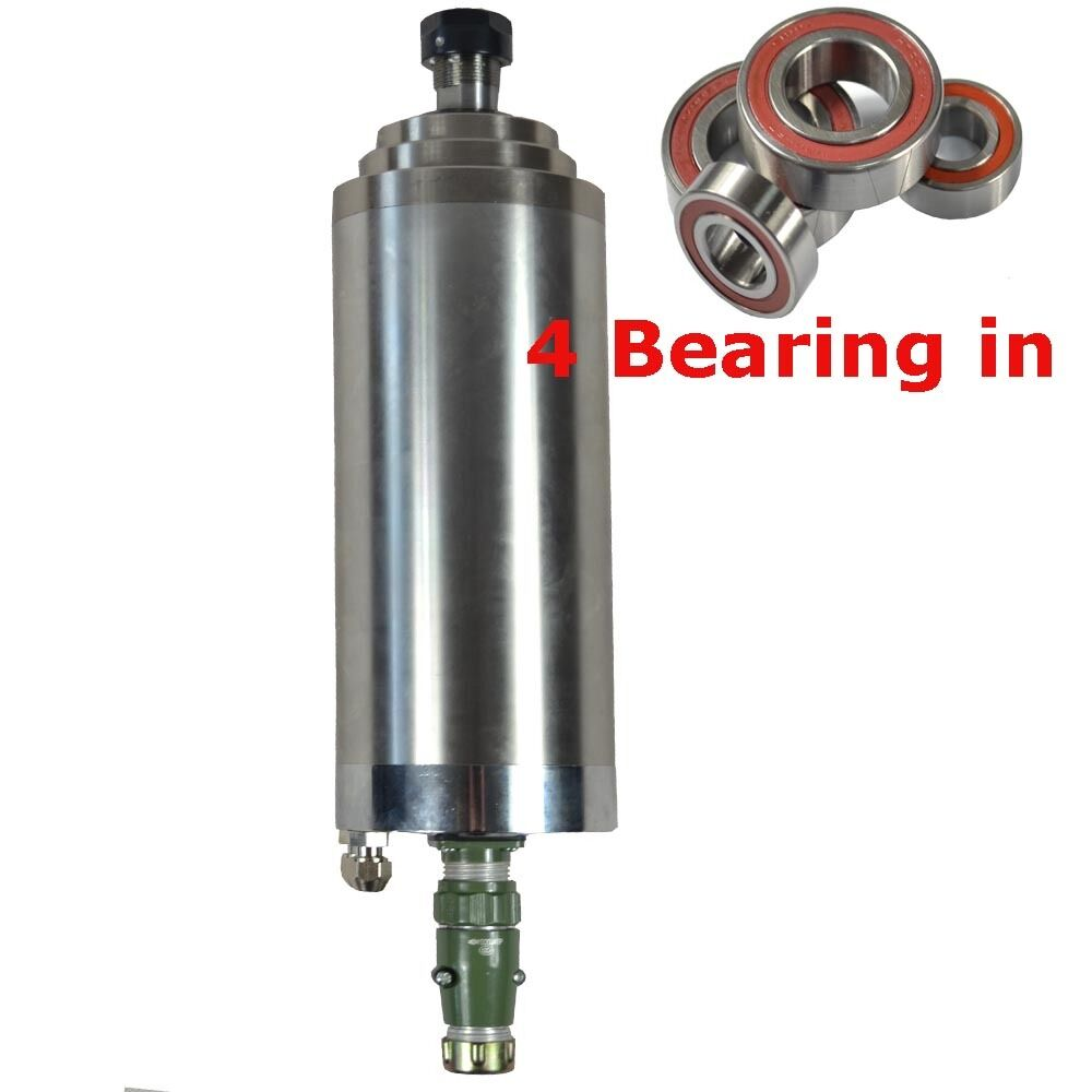Cnc Four Bearing Er20 4kw Water Cooled Motor Spindle