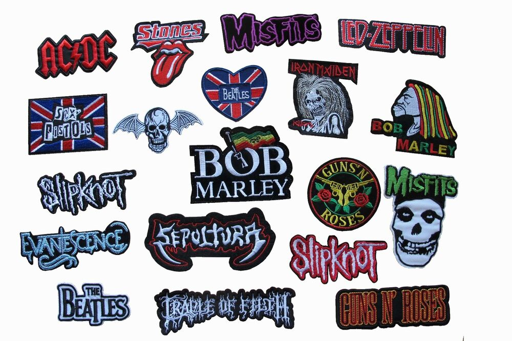 Punk rock band music song name logo embroidery applique