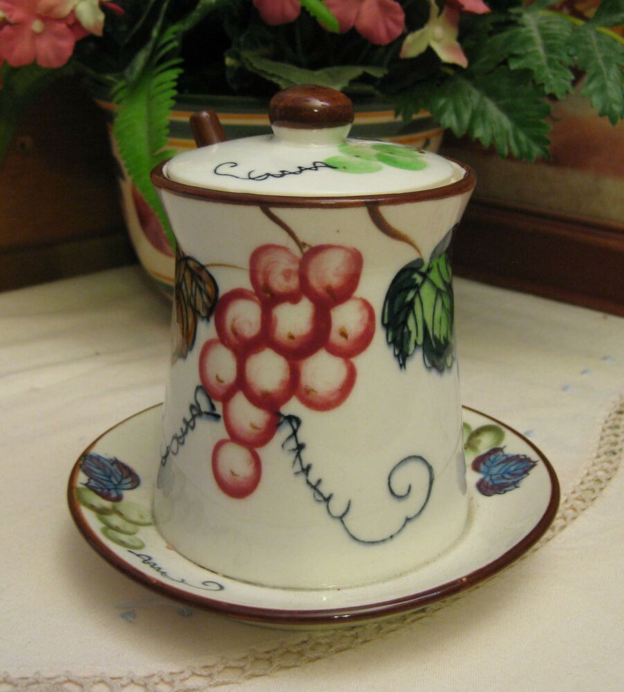 Vintage Esd Japan Pottery Jam Pot Hand Painted Grapes