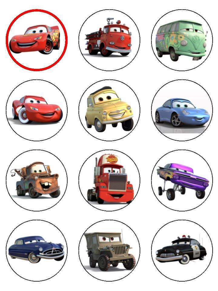 24 Cars Lightning McQueen ICING Edible Cupcake Toppers ...