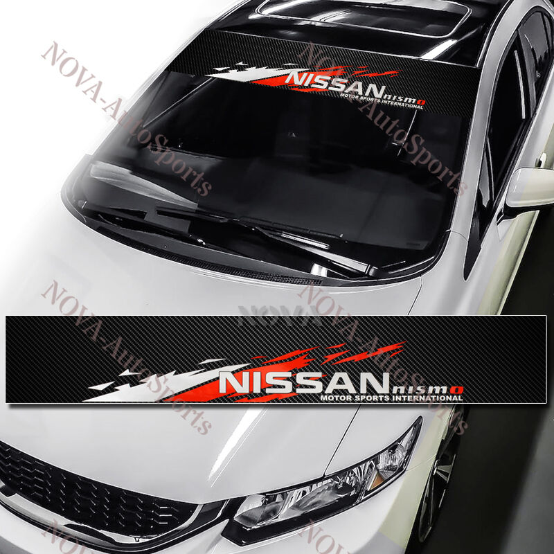 Nismo front window windshield carbon fiber vinyl banner decal sticker for nissan ebay