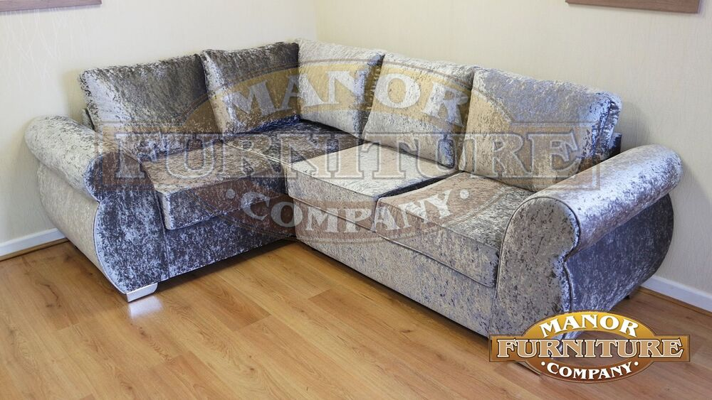 Chloe Corner Sofa Silver crushed velvet fabrics Buy direct  : s l1000 from www.ebay.co.uk size 1000 x 563 jpeg 109kB