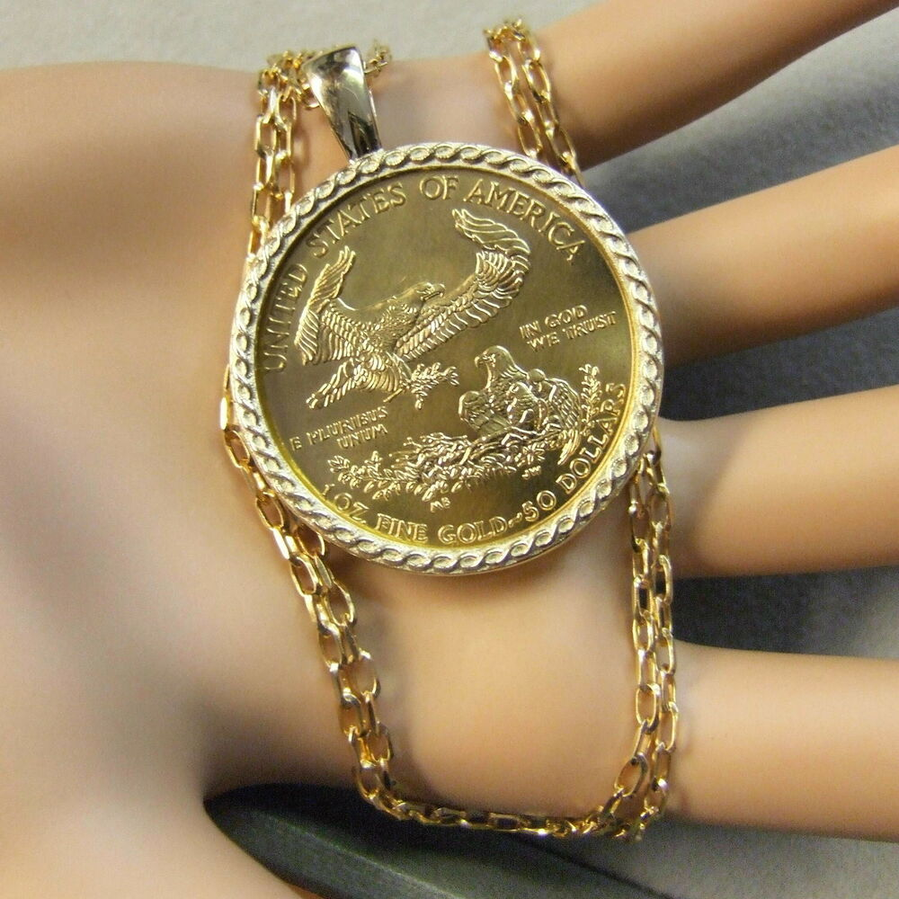 9ct Gold New Bullion Pendant That Will Fit A One Oz Gold
