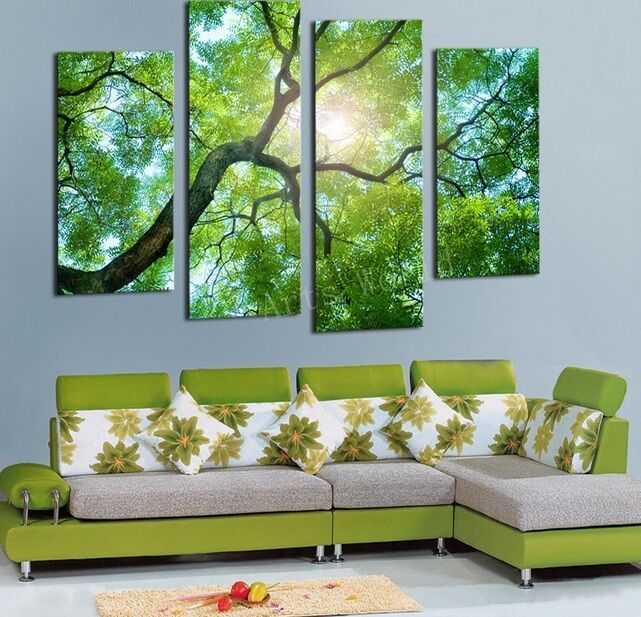 Home Decor Art Painting Green Tree Wild Modern Picture Oil Canvas Wall No Frame Ebay