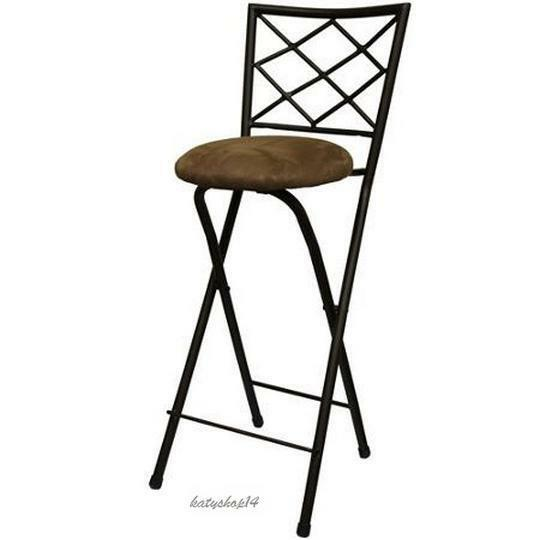 "Folding Bar Stool X Back 30"" Bronze Frame Beige Microfiber Party Height"