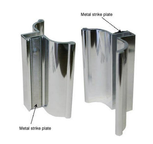 Bright Chrome Frameless Shower Door Handle With Metal