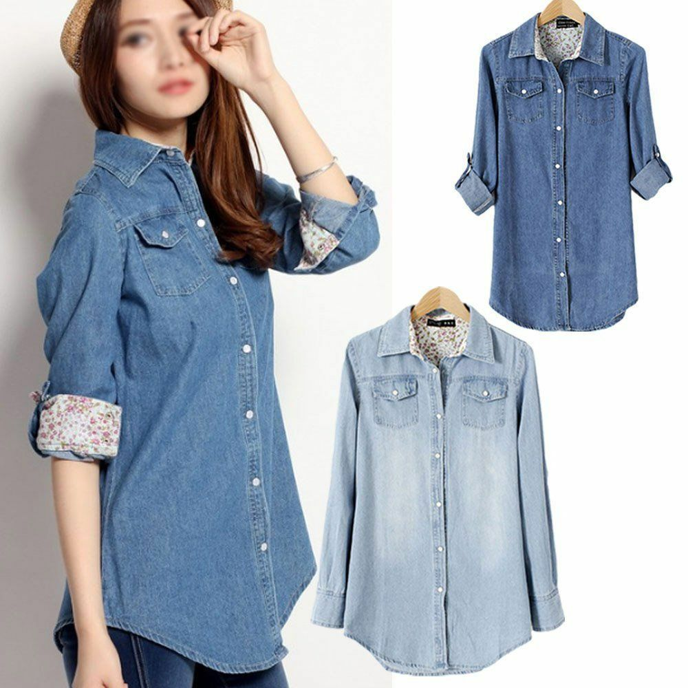S xxl retro fashion women casual blue jean denim long for Blue denim shirt for womens