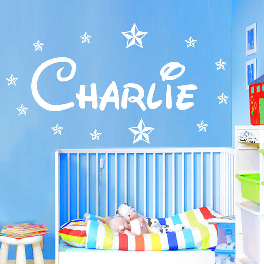 Personalised wall sticker name with stars disney style for Disney wall mural stickers