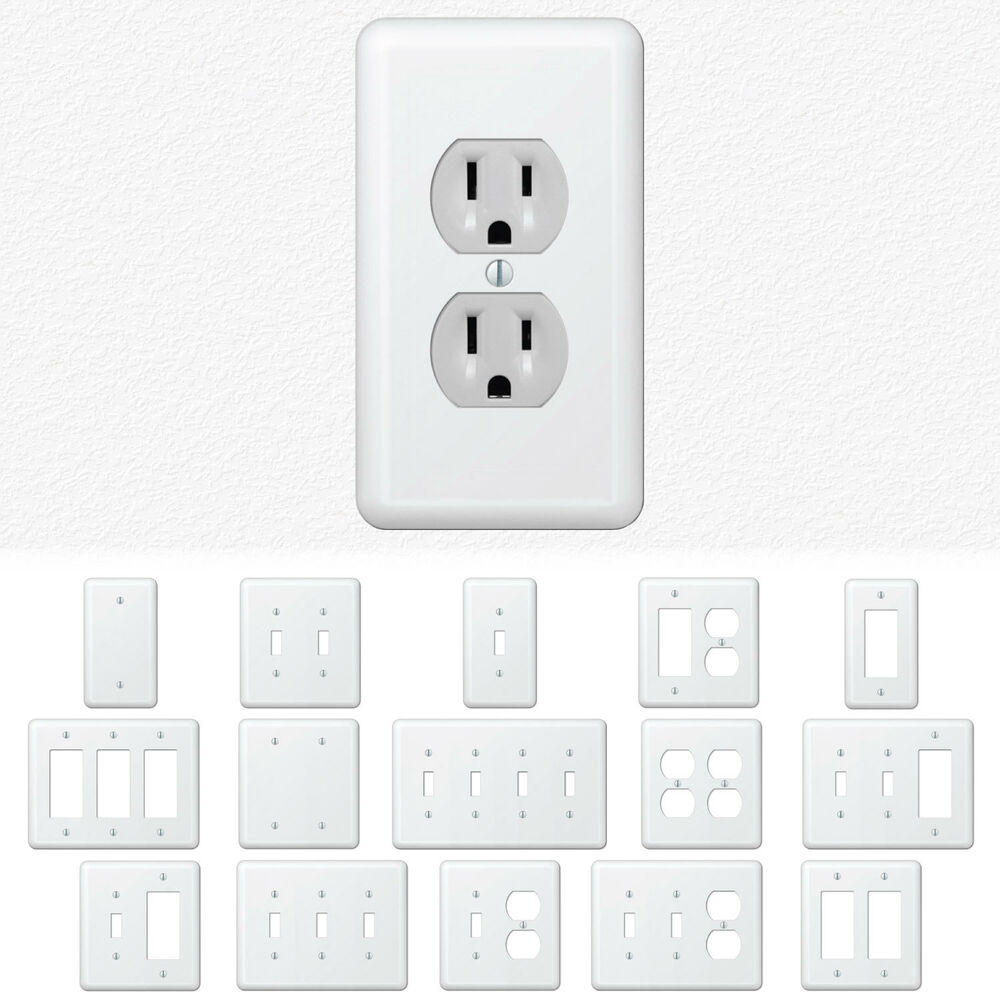 White Metal Wall Switch Plate Outlet Cover Toggle Duplex