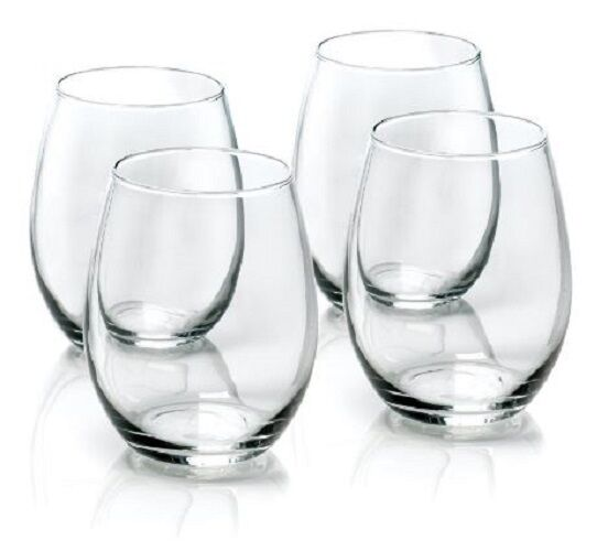 Red Kitchen Glassware: Stemless Red Wine Glasses Set Of 4 White Wines Clear Glass
