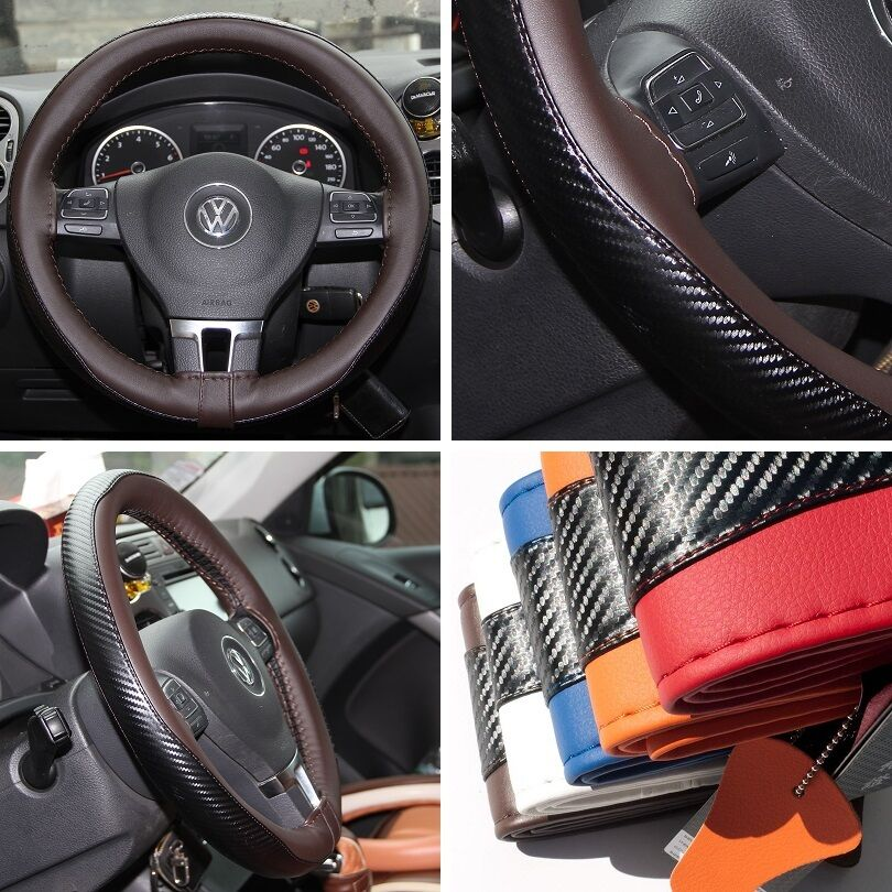 15 steering wheel cover black brown carbon fiber pvc leather wrap kit 47023 ebay. Black Bedroom Furniture Sets. Home Design Ideas