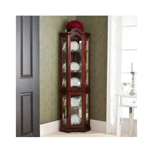 China Curio: Corner Curio Cabinet Lighted China Display Case Glass