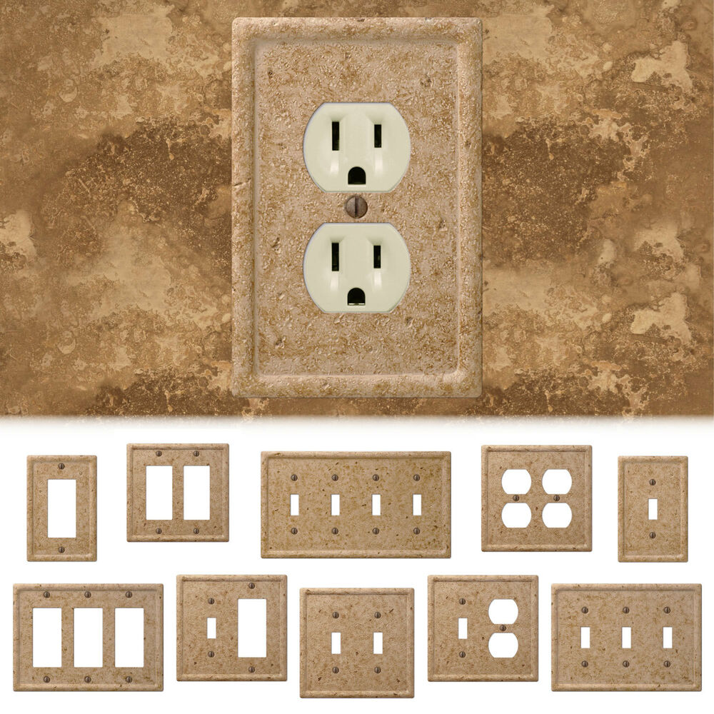Tumbled Travertine Faux Textured Stone Noce Resin Switch