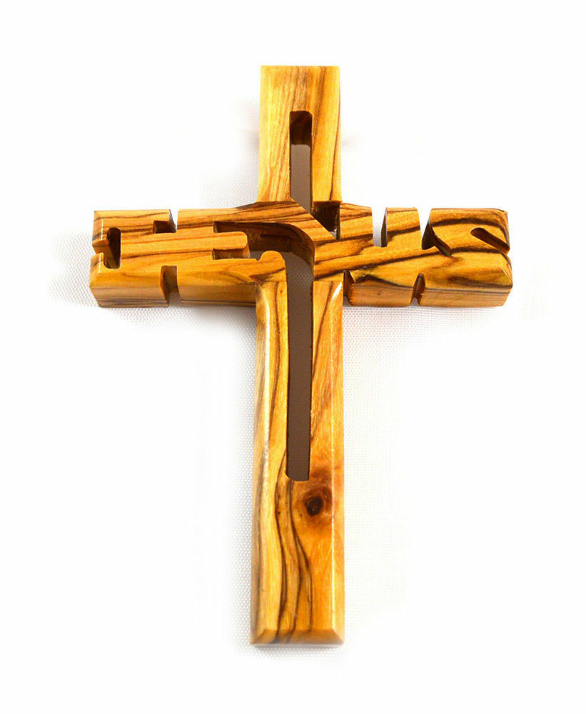 Holy land hand carved olive wood jesus cross from