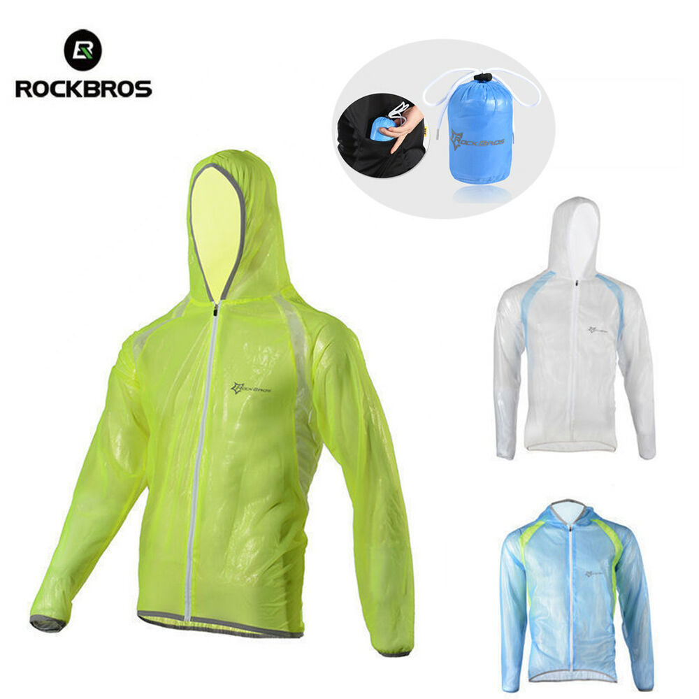Rockbros Long Sleeve Cycling Jersey With Hood Cap Wind Rain Coat Green Men's Clothing Clothing, Shoes & Accessories