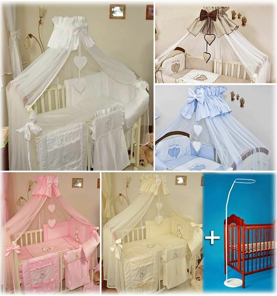 Baby bed net - Stunning Baby Canopy Mosquito Net 480cm Floor Stand Holder Fits Cot Bed Heart Ebay