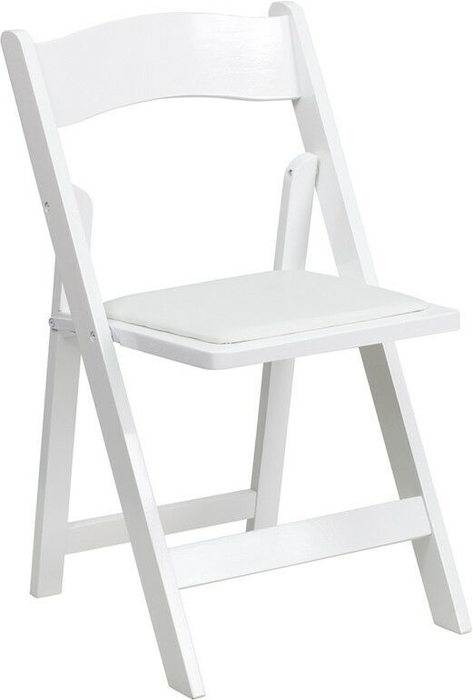 White Color Wood Folding Chair with White Vinyl Padded Seat Wedding Chair