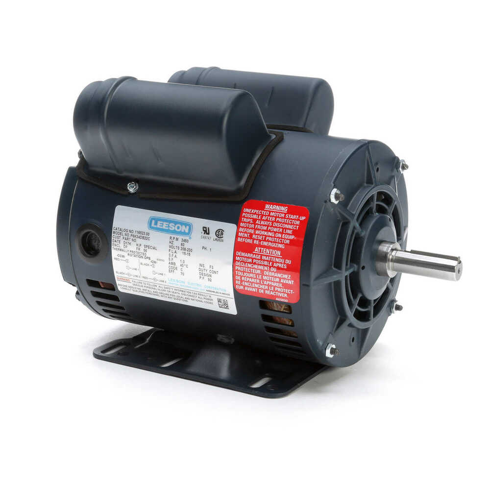 Leeson electric motor 5 hp 3450 rpm single phase for Compressor duty electric motors