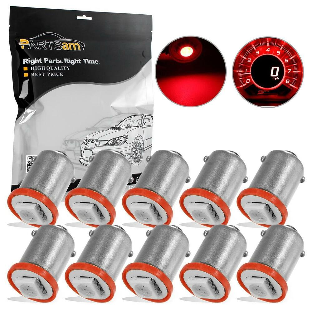 10x BA9s LED Bulb Red For Ford Instrument Cluster Dash