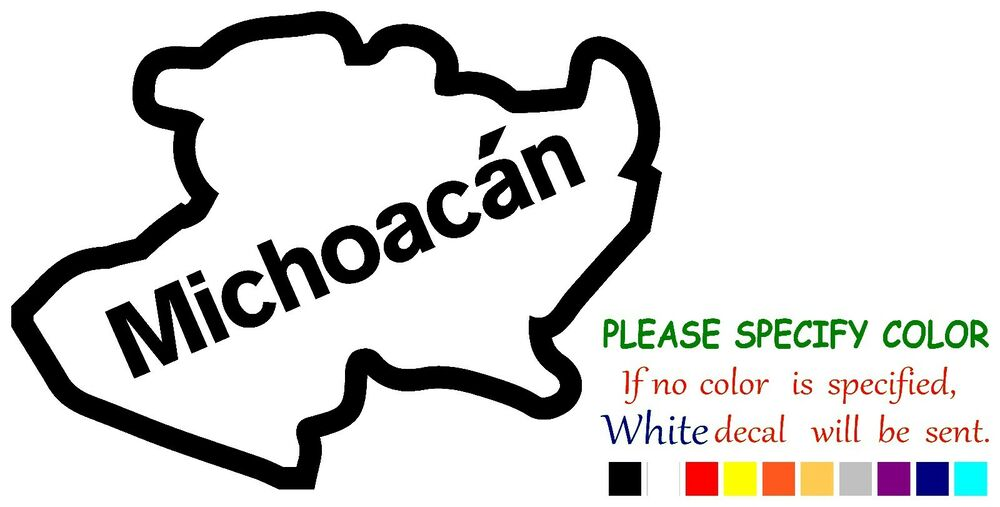 Michoacan Mexico State Map Vinyl Decal Sticker Car Window