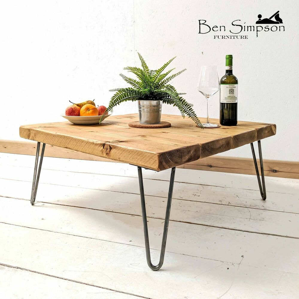 rustic chunky square wooden coffee table metal hairpin. Black Bedroom Furniture Sets. Home Design Ideas