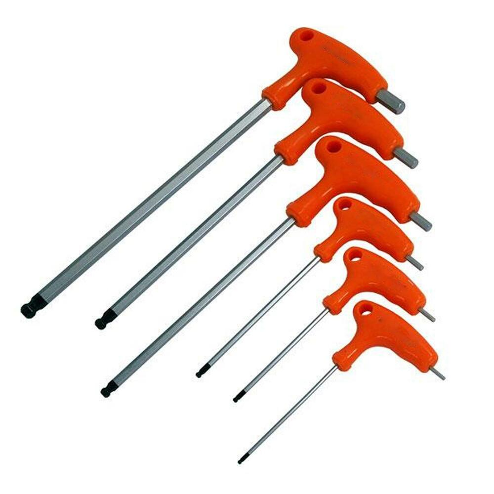 6pc t handle ball ended hex key set long reach allen screwdriver tool h2 h8mm ebay. Black Bedroom Furniture Sets. Home Design Ideas