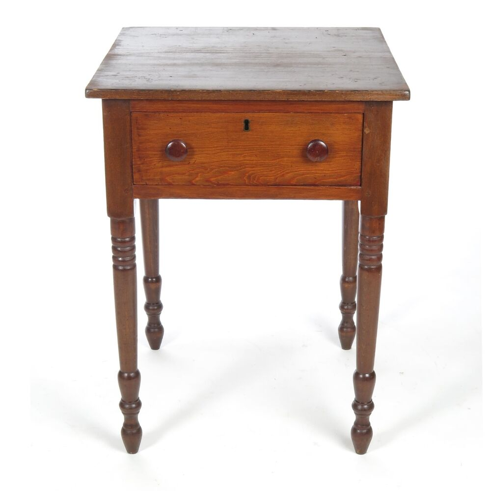 Antique 19th c one drawer stand small work side table for Short table legs