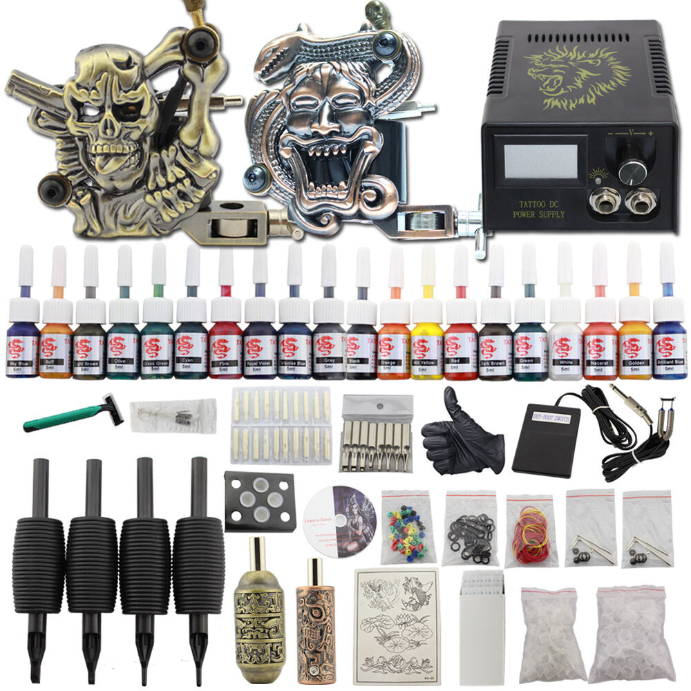 Pro starter complete tattoo kits 2 gun machine 20 colors for Tattoo supplies ebay