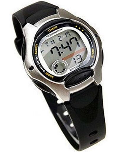NEW CASIO Ladies Boys LW-200-1A Digital Black Silver Resin ...