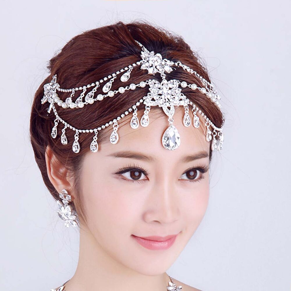 Wedding Headpieces With Forehead Jewelry: Bridal Rhinestone Crystal Dangle Faux Pearl Forehead Maang