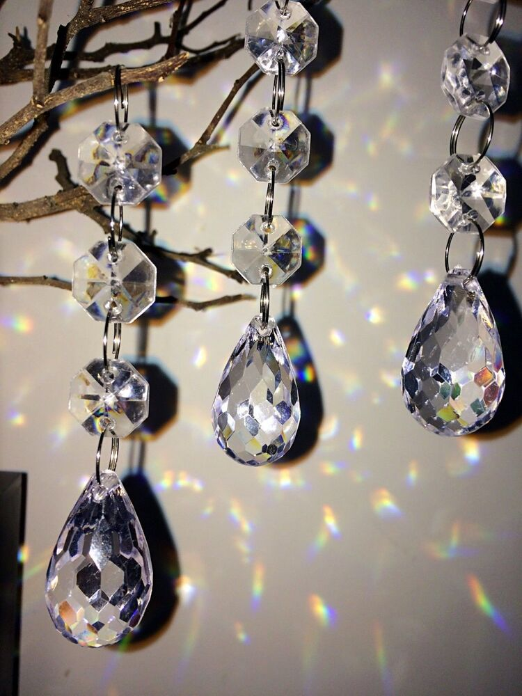30pcs acrylic crystal beads garland chandelier hanging wedding party decor ebay - Chandelier glass beads ...