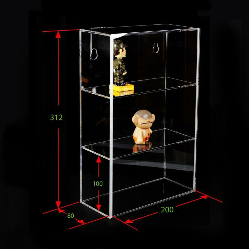 3 tier acrylic display box case sliding door wall mount collectibles 12 h x 8 w ebay. Black Bedroom Furniture Sets. Home Design Ideas