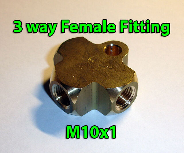 Brake line pipe brass t way female fitting connector