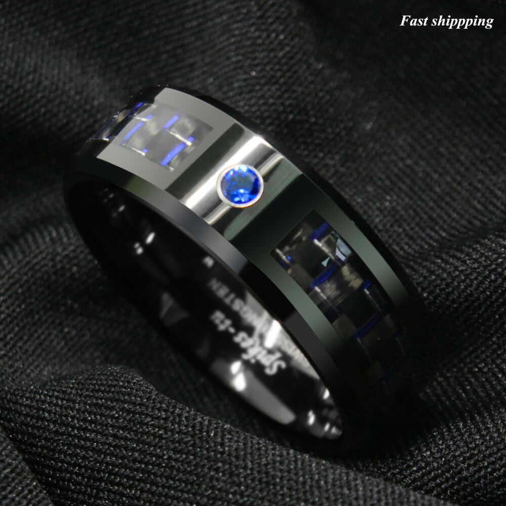 Black and blue Carbon Fiber Tungsten Ring Blue Diamond Mens jewelry Wedding B