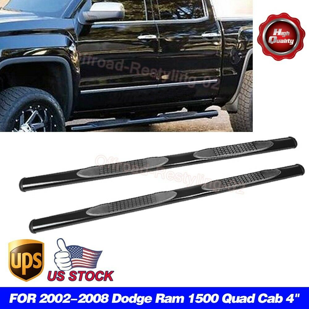 "2002-2008 Dodge Ram 1500 Quad Cab 4"" Side Step Nerf Bars"