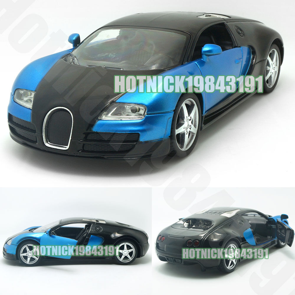 new bugatti veyron limited edition 1 24 diecast alloy model car blue black ebay. Black Bedroom Furniture Sets. Home Design Ideas