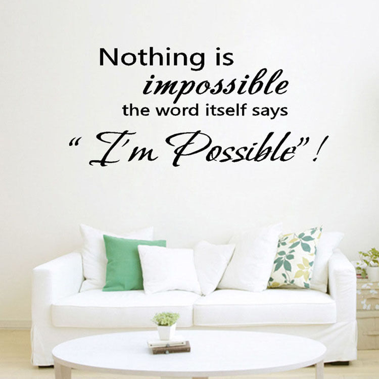 Hot nothing is impossible wall art inspirational quotes for Home decor quotes on wall
