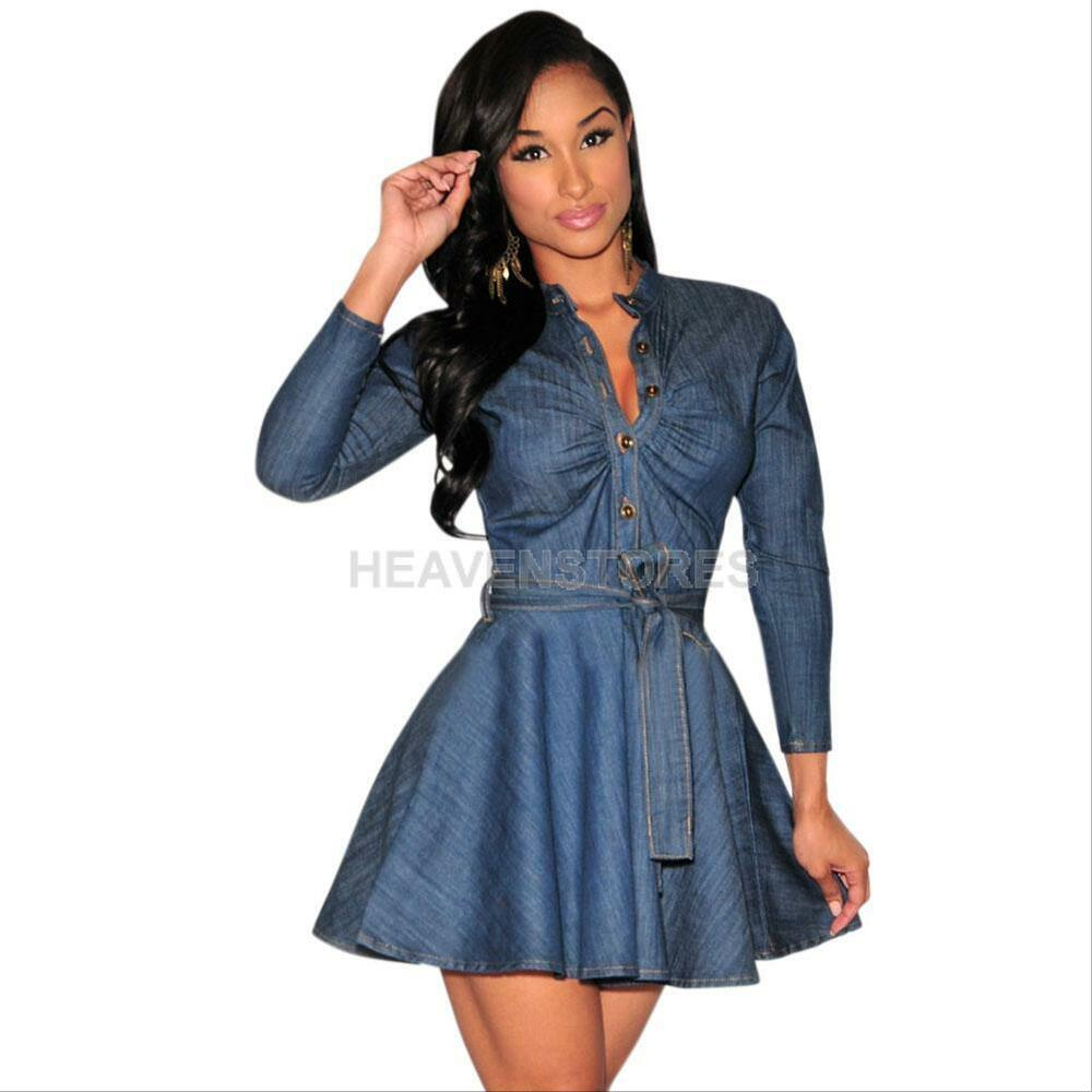 Fashion womens slim denim jean dress bowknot belt long Women s long sleeve shirt dress