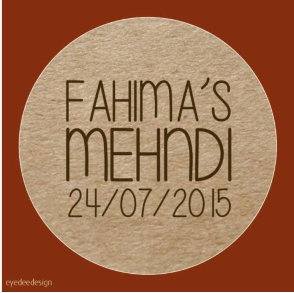 Details about 35x any text personalised mehndi wedding party chic rustic henna stickers 560