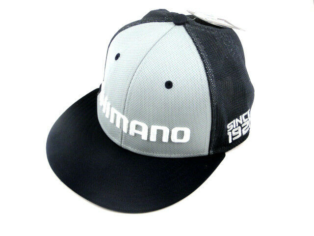 Shimano logo flatbill proflex q3 fitted hat navy mesh for Fitted fishing hats